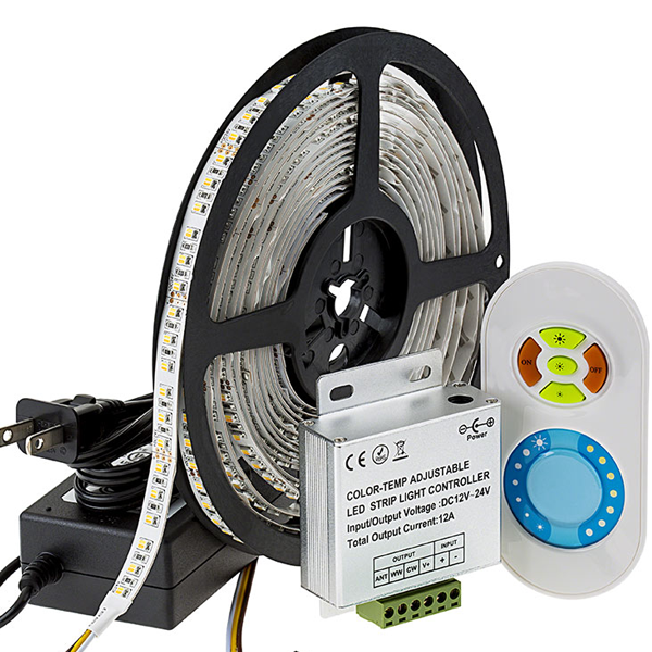 LED Light Strip Full Kit - Variable Color Temperature Flexible LED Tape Light with 36 SMDs/ft., 2 Chip SMD LED 3528